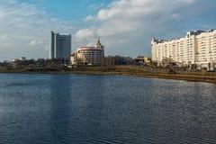Взгляд здания банка Москв-Минска и гостиницы Bela Стоковая Фотография