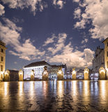 Взгляд здания президента республики в Праге (взгляде) ночи, чехии Стоковое Фото