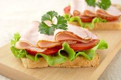 Взгляд здравиц, салат крупного плана, томат, холодные отрезки на разделочной доске Стоковое Изображение