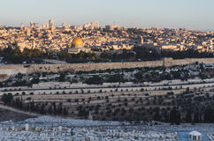 Взгляд Иерусалима, Израиля от Mount Olive Стоковые Изображения RF