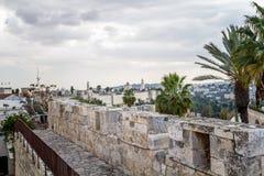 Взгляд Иерусалима от старых стен города в Израиле Стоковая Фотография