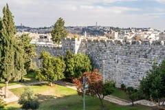 Взгляд Иерусалима от старых стен города в Израиле Стоковое фото RF