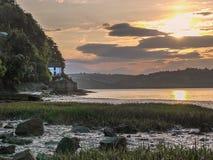 Взгляд лимана Taf приливного на красивом восходе солнца стоковые изображения rf