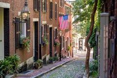 Взгляд исторической улицы жолудя в Бостоне Стоковые Фото