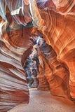 Взгляд каньона антилопы с световыми лучами Стоковое Фото