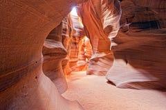 Взгляд каньона антилопы с световыми лучами Стоковое Изображение