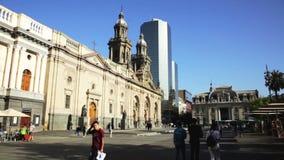 Взгляд квадрата вооружения в историческом центре столицы Чили видеоматериал