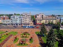 Взгляд квадрата Soborna, Vinnytsia, Украины стоковое изображение
