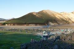 Взгляд кемпинга в Landmannalaugar сверху, Исландия Стоковое Изображение