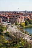 Взгляд Копенгагена от церков нашего спасителя стоковое фото