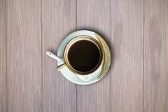 взгляд кофейной чашки предпосылки высокий деревянный Стоковое Изображение RF