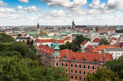 Взгляд Кракова от замка Wawel стоковое изображение rf