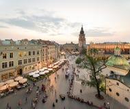 Взгляд Кракова, Польши на заходе солнца Стоковое фото RF