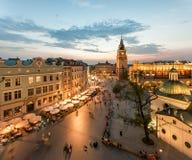 Взгляд Кракова, Польши на заходе солнца Стоковая Фотография RF