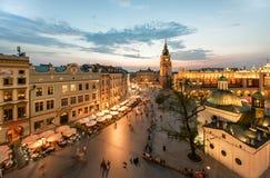 Взгляд Кракова, Польши на заходе солнца Стоковые Фото