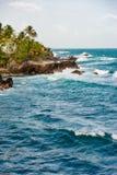 Взгляд края скалы пляжа бурного моря Вест-Индиев Toco Тринидад и Тобаго Стоковые Изображения