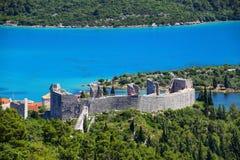 Взгляд крепости в городке Мали Ston, Хорватии стоковое фото rf