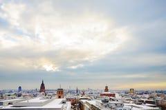 Взгляд к горизонту Франкфурта с Hauptwache и ухом небоскреба Стоковая Фотография