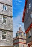 Взгляд к историческому здание муниципалитету Herborn, Германии стоковые фотографии rf