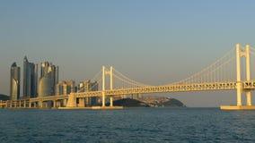 Взгляд к мосту Gwangan в городе Пусана, Южной Корее в заходе солнца освещает акции видеоматериалы