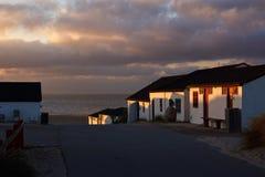 Взгляд к Northsea на заходе солнца в Stenbjerg, Дании Стоковые Фотографии RF