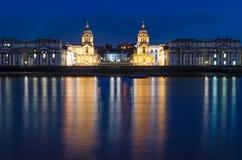 Взгляд Лондона, Гринвича от острова собак Стоковое Изображение