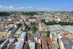 Взгляд Львова от башни здание муниципалитета Львова, Украины Стоковая Фотография
