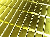 Взгляд макроса рядков золота в слитках Стоковая Фотография RF