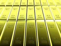 Взгляд макроса рядков золота в слитках Стоковое Изображение RF