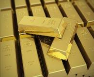 Взгляд макроса стогов золота в слитках Стоковые Фотографии RF