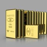 Взгляд макроса стогов золота в слитках Стоковое Изображение