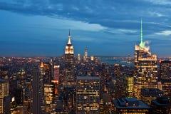 Взгляд Манхаттана на сумраке, Нью-Йорке, США Стоковое Изображение