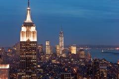 Взгляд Манхаттана на сумраке, Нью-Йорке, США Стоковая Фотография RF