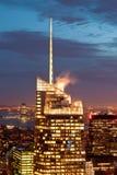 Взгляд Манхаттана на сумраке, Нью-Йорке, США Стоковые Изображения