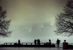 Взгляд Манхаттана, Нью-Йорка, от острова свободы в туманном дне Стоковые Изображения RF