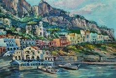 Взгляд Марины Piccola порта Капри от шлюпки Стоковое Изображение RF