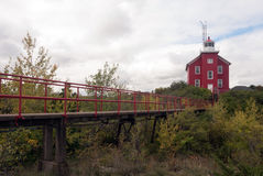 Взгляд маяка гавани Marquette от стороны Lake Superior, Мичиган, США Стоковое фото RF
