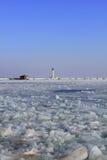Взгляд маяка зимы Стоковое фото RF