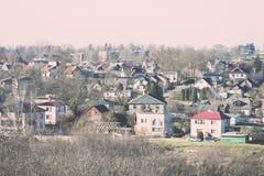 Взгляд маленького города панорамный сверху в осени Винтаж Стоковое Изображение