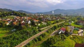 Взгляд малой деревни от воздуха Стоковое Изображение RF
