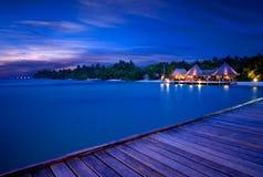Взгляд Мальдивы ночи Стоковое Изображение RF