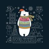 взгляд медведя приполюсный небо klaus santa заморозка рождества карточки мешка Стоковые Фотографии RF