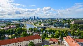 Взгляд многоэтажных зданий города в Вильнюсе Стоковая Фотография RF