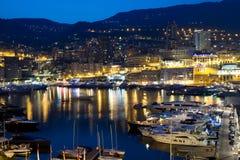 Монако на ноче Стоковое Изображение RF