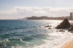 Взгляд морского побережья в Lloret de mar на Косте Brava, Испании Стоковая Фотография