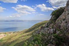 Взгляд моря Галилеи от держателя Arbel Стоковые Фото