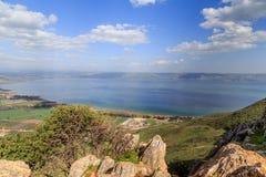 Взгляд моря Галилеи от держателя Arbel Стоковая Фотография