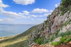 Взгляд моря Галилеи от держателя Arbel Стоковые Изображения