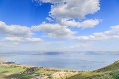 Взгляд моря Галилеи от держателя Arbel Стоковые Изображения RF