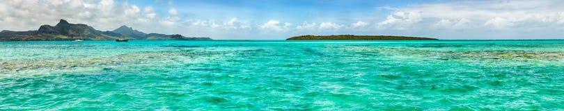 Взгляд моря на времени дня Маврикий панорама Стоковые Фото